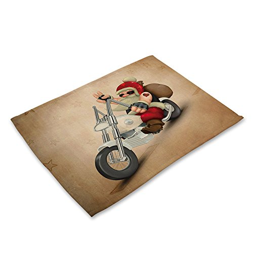 LoveLeiter Weihnachten Tischset Matte Dekoration Home Party Weihnachten Esstisch Cartoon Tischdecke Antibakteriell SchüSsel Gabel Restaurant Rutschfeste Dinner KüChe Platzdeckchen(C)