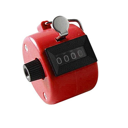 Pinzhi Farbe Digital Hand Tally Clicker Zähler 4 Digit Nummer Clicker Golf Chrome (Rot) (Chrome-zähler)