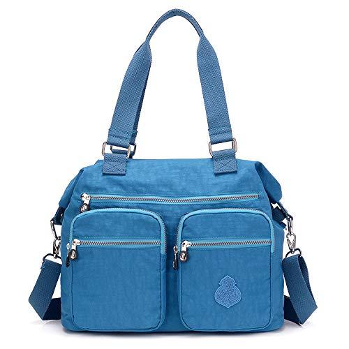 Nuova borsa di tela di nylon versione coreana della semplice borsa di tela Oxford borsa a tracolla portatile grande borsa shopping mare blu