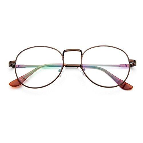 Haodasi Männer Frauen Retro Runde Rezept Brillen Rahmen Clear Lens Brillen (Brille Männer Rezept)
