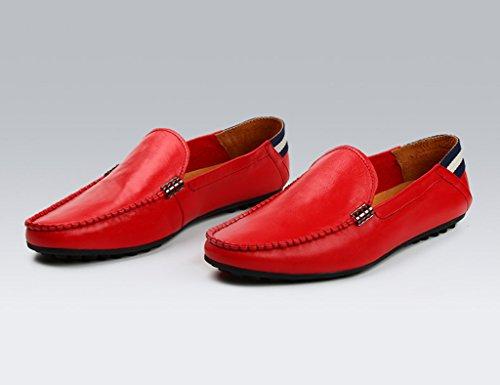 Scarpe Uomo in Pelle Estate in pelle da uomo scarpe stile inglese morbida pelle Leisure Drive primavera ( Colore : Blu , dimensioni : EU42/UK7.5 ) Rosso