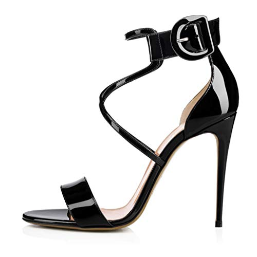 Cross Belt Sandals Dinner High Heels Abendkleid Damenschuhe (Farbe : Schwarz, größe : 37 1/3 EU) Black Satin Bow Sandals