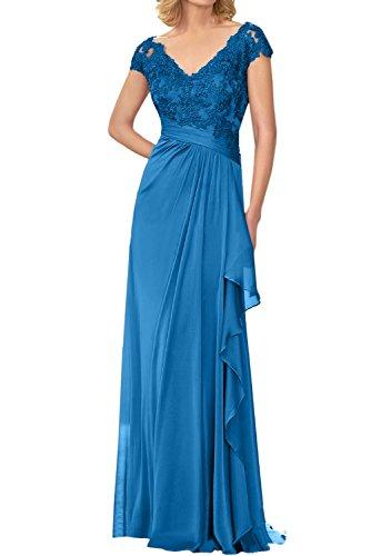 Sunvary Elegant V-Neck Mutterkleider Bodenlang Chiffon Kurzarm Abendkleider  Lang Neu Blau
