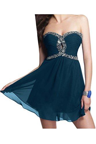 Ivydressing Damen Steine Schnuerung Chiffon Kurz A-Linie Abendkleid Tintenblau