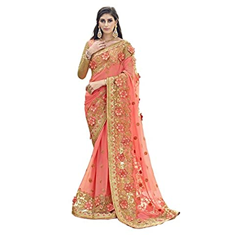 Aagaman Fashions Indien des femmes Orange coloré brodé Faux Georgette Wedding Saree