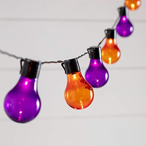 Lights4fun 20er LED Party Lichterkette Halloween orange lila -