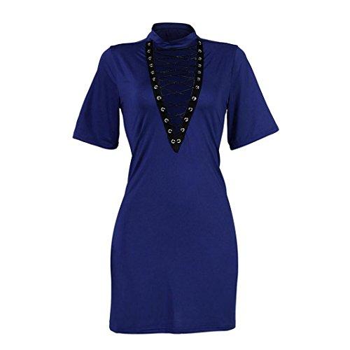 robe femme, Transer ® Femmes sexy bandent manches courtes Bodycon Party Mini robe de soirée Bleu