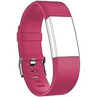 Bracelet, Yustar tracker de fitness Accessoires en alliage de zinc Fermoir Sangle de bracelet en silicone de rechange avec prise pour Fitbit Charge 2