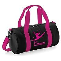 beyondsome Personalised Womens Girls Kids Dance Bag Pink Ballet Gymnastics Uniform Gym Kit, Black & Fuchsia Pink/Fuchsia Pink Print