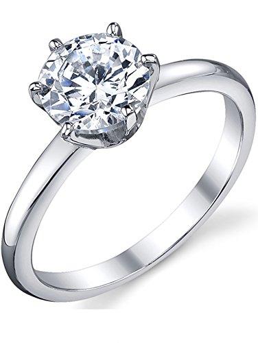 Damen Sterling Silber 925 Verlobungsring, Ehering Mit 1.25 Karat Runde Zirkonia Bequemlichkeit Passen,Größe 52