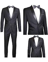 Moda Classica Abito Uomo Nero Super Slim Giacca E Pantalone Smoking Vestito Elegante  Cerimonia Comunione (Calza Stretto 1-2 Taglie in… 98bf2681183