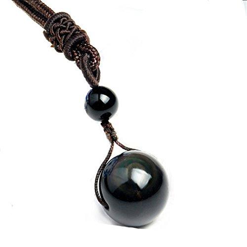 Yesiidor natürliches Schwarz, Obsidian Halskette für Naturstein Perlen mit Anhänger, Ein Halskette