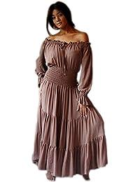 LOTUSTRADERS Damen Boho Dreiviertel Ärmel Kleid