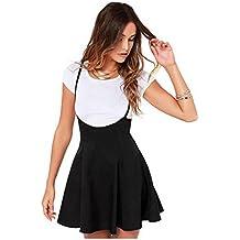 82a388595e Las mujeres forman la falda negra con el vestido plisado de las correas de  hombro mujeres