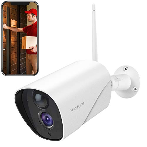 Telecamera wifi esterno, victure fhd 1080p telecamera ip di sorveglianza, rilevamento pir, telecamera statica impermeabile e antipolvere, audio bidirezionale, visore notturno