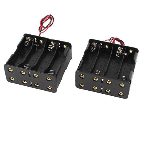 Preisvergleich Produktbild TOOGOO(R) 2 Stueck schwarze Kunststoff Batteriehalterung w wire fuer 8 x AA 12V Batterien