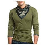 Herren Shirts,Rosennie Herren Casual Camouflage Print O-Ausschnitt Pullover T-Shirt Top Bluse Männer Herbst T-Shirt Langarm Pullover mit Reißverschluss Sweatshirts Top Bluse(Armeegrün,XL)