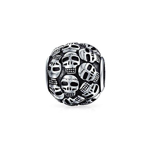 Katakomben Schädel an der Wand Charm Perle Silber (Und Charms Schädel-perlen)