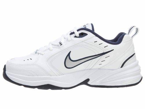 NIKE AIR MONARCH IV chaussures de course Blanc, argent métallisé, bleu marine minuit