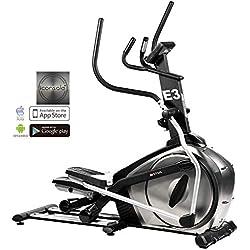 AsVIVA E3 Pro Vélo elliptique/Crosstrainer avec Masse d'inertie 27kg et 16 Niveaux de résistence, Console appli Bluetooth, Frein magnétique et Console Multifonctions avec Affichage LCD, Argent