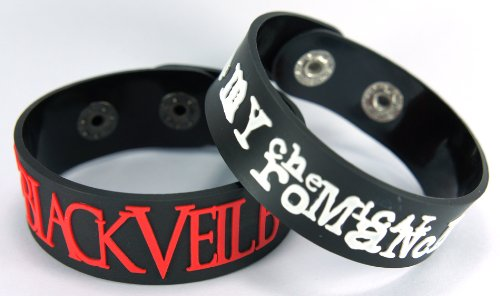 Black Veil Brides My Chemical Romance 2pcs NEU. Bracciale Wrist Band 2 X 1 A52