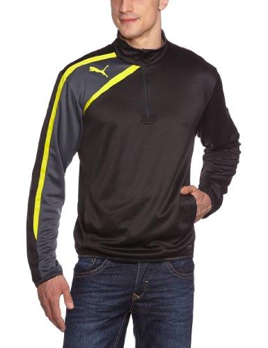Half Zip Mikrofaser Pullover (PUMA Herren Jacke Spirit Half Zip Training Jacket, Black/Ebony/Blazing Yellow, L, 653595 66)