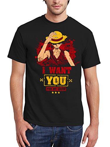 Kostüm Studio Ghibli - clothinx Herren T-Shirt Strawhat Crew Schwarz Gr. 3XL