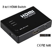Milkee 3 a 1 Puertos Mini Plástico 1080P 225MHz Ancho de Banda 3 Puertos HDMI 1.3 Switch 3 Entrada 1 Salida Soporte 3D 15m Transmisión con Control Inalámbrico de Infrarrojos