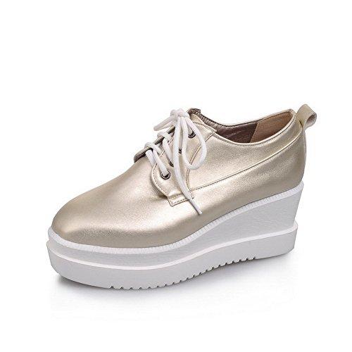 Cuir Femme Talon Couleur Légeres Unie Chaussures Carré Correct PU Doré AgooLar à Lacet Ytwgdqd
