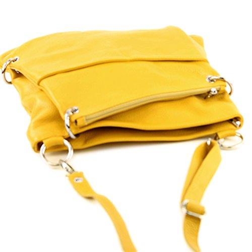modamoda de -. cuoio ital Borsa da donna Messenger bag borsa a tracolla in pelle borsa NT07 2in1 Gelb