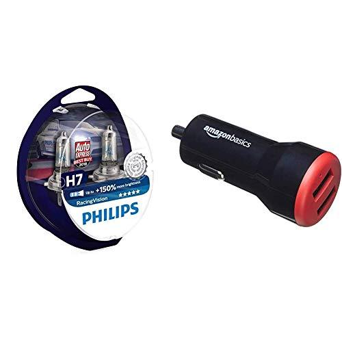 Philips RacingVision +150{1c64a80ea110c5891dac6837d3e717c5ad7deb432758cb9c158a8fe6d656bd37} H7 Scheinwerferlampe 12972RVS2, Doppelset & AmazonBasics - Kfz-Ladegerät für Apple- & Android-Geräte, USB-Anschluss: 2 Eingänge, 4,8Ampere / 24W, Schwarz/Rot