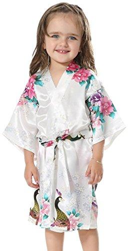 FLYCHEN Girl's Satin Kimono Robe For Kids Wedding Dress Gown White 6