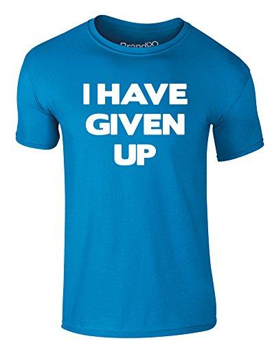 Brand88 - I Have Given Up, Erwachsene Gedrucktes T-Shirt Azurblau/Weiß