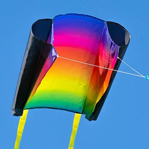 CIM Kinder-Drachen - Beach Kite Prism - Einleiner-Flugdrachen für Kinder ab 6 Jahren - 74x47cm - inkl. 80m Drachenschnur und Streifenschwänze