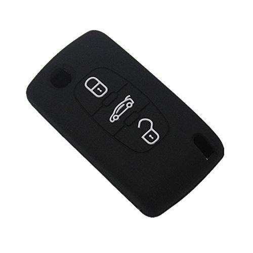 Happyit Silicona Coche Llave Funda Protectora para Peugeot RCZ 107 206 207 208 306 307 308 407 408 508 para Citroen C1 C2 C3 C4 C5 C6 C8 3 Botones Doblar Clave (Negro)