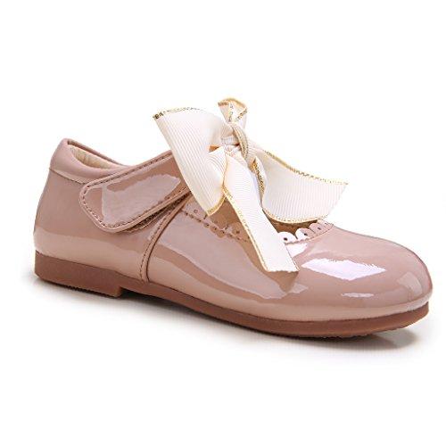 Pettigirl Niñas Bowknot Plana Princesa del Bautizo Nupcial Fiesta Antideslizante Zapatos Escolares Mary Jane, Camello,30