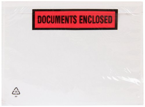 "Purely Packaging - Buste stampate con chiusura adesiva, scritta in inglese ""Documents Enclosed"", formato A7, 123 x 111 mm, confezione da 1.000 pezzi"