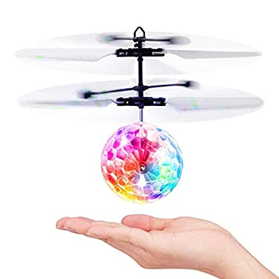 Baztoy Flying Ball, Kids Toys Remote Control Helicopter Mini Drone Magic RC Flying Toys with Shinning LED Lights Fun Gadgets for Boys Girls Kids Teenagers Adults