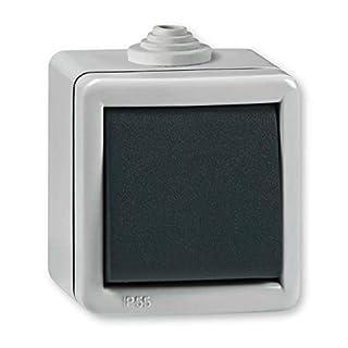 Ein/Aus Aufputz Schalter 10AX/250V~ / IP 55 (Metallausführung) Grau mit Wippe in Anthrazit