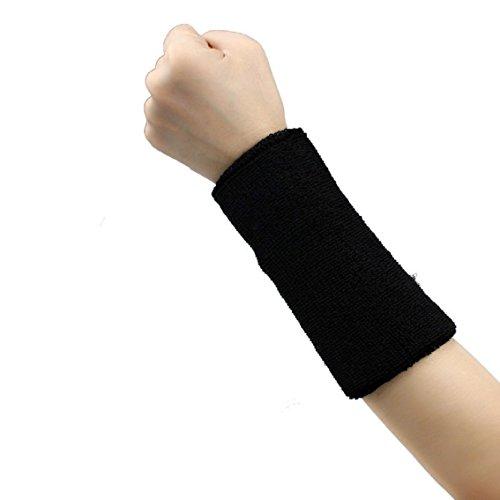1pc Unisex di cotone parasudore; Pallacanestro tennis Palestra yoga Wristband Armband (15 centimetri circa) (nero)