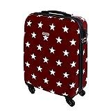 Karry Hartschalen Reise Koffer Trolley TSA Rot Sterne 820 (Handgepäck Reise Koffer 30 Liter Rot Sterne 820)
