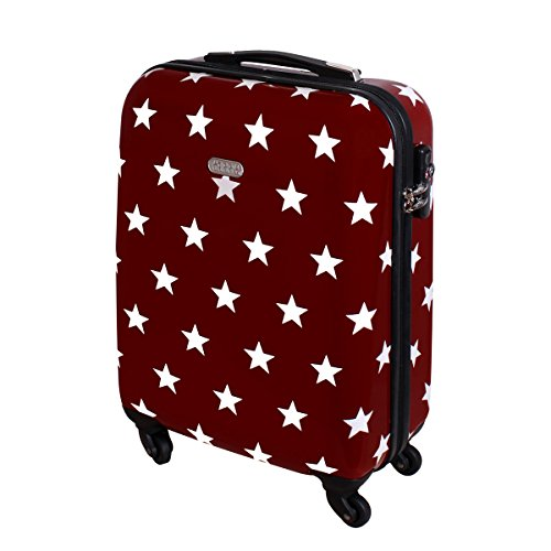 Handgepäck Hartschalen Reise Koffer 55 x 40 x 20 TSA Schloss Trolley 30 Liter Sterne Rot