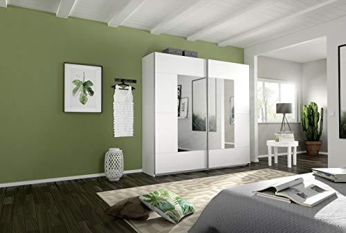 Rauch Crato Schwebetürenschrank, Holz, weiß, 59 x 218 x 210 cm