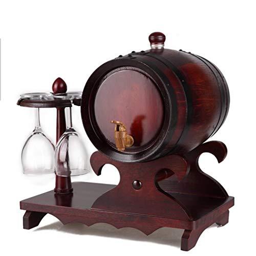 LXJYMX Weinfass 5-Liter-Eichenfass mit Getränkehalter und Wein- / Bier-Wasserspender Kreatives Weinfass (Farbe : B) - 5-liter-eichenfass