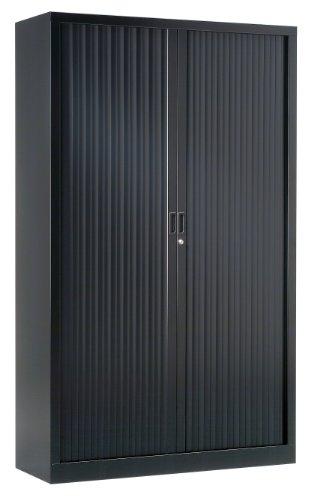 Vinco-Armoire-Monobloc-H198xL120xP43-cm-4-Tablettes-Noir-9005-Rideaux-Noir