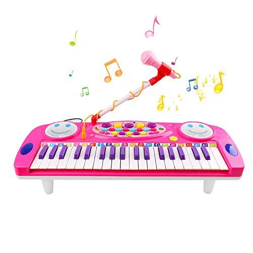 Zmoon Klavier für Kinder, 37 Tasten Klaviere Keyboards Multi-Funktion elektronische Orgel mit Mikrofon für Kinder und Anfänger (Rosa)