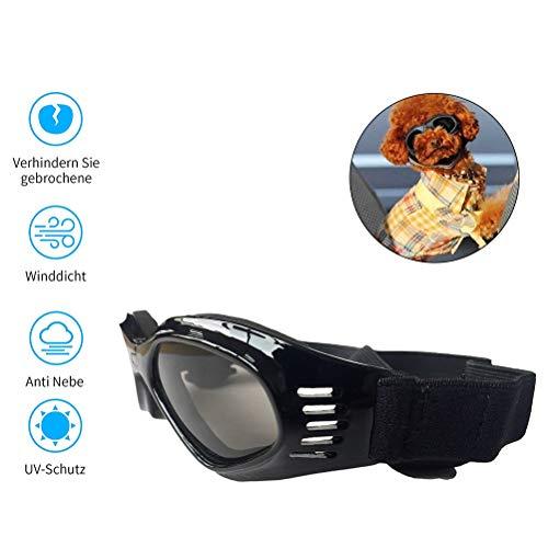 Hihey Sonnenbrille für Hunde Hundebrille Hundesonnenbrille Brille für Klein/Mittel Hund Faltbar Wasserdicht Augenschutz UV Schutz Anti Fog Verstellbar