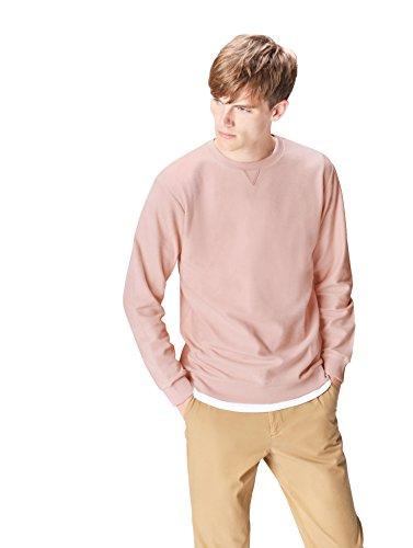 find. Sweatshirt Herren meliert mit Rippenbündchen, Insideout-Look und rundem Ausschnitt, Rosa (Rose Smoke 001), 48 (Herstellergröße: Small) -