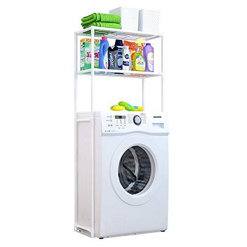yusdp scaffale di stoccaggio lavatrice a 2 strati, ripiano per bagno in metallo - tubo tondo rinforzato antiruggine, scomparto di linea criptato - spazio risparmiato bianco