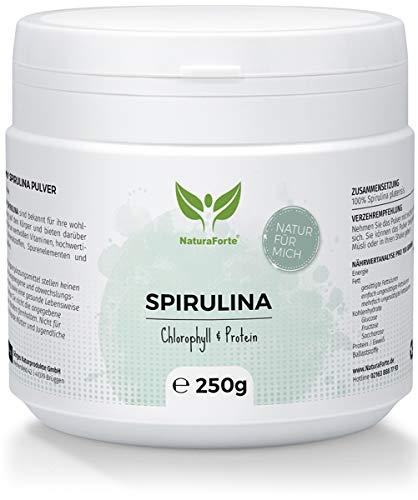 NaturaForte Espirulina Powder 250 g, puro, vegano, sin aditivos, alimentos crudos, clorofila, hierro, potasio, proteínas y magnesio